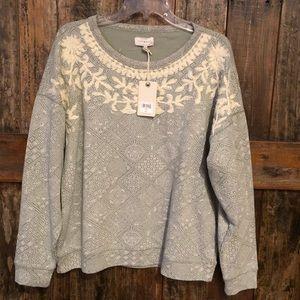 Lucky Brand, M, NWT, Gray & Beige Sweatshirt